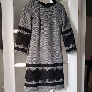 NWT Karl Lagerfeld Gray& Black Midi Shift Dress